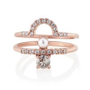 C+I Petits Bijoux Pavé + Pearl Ring Set Rose Gold